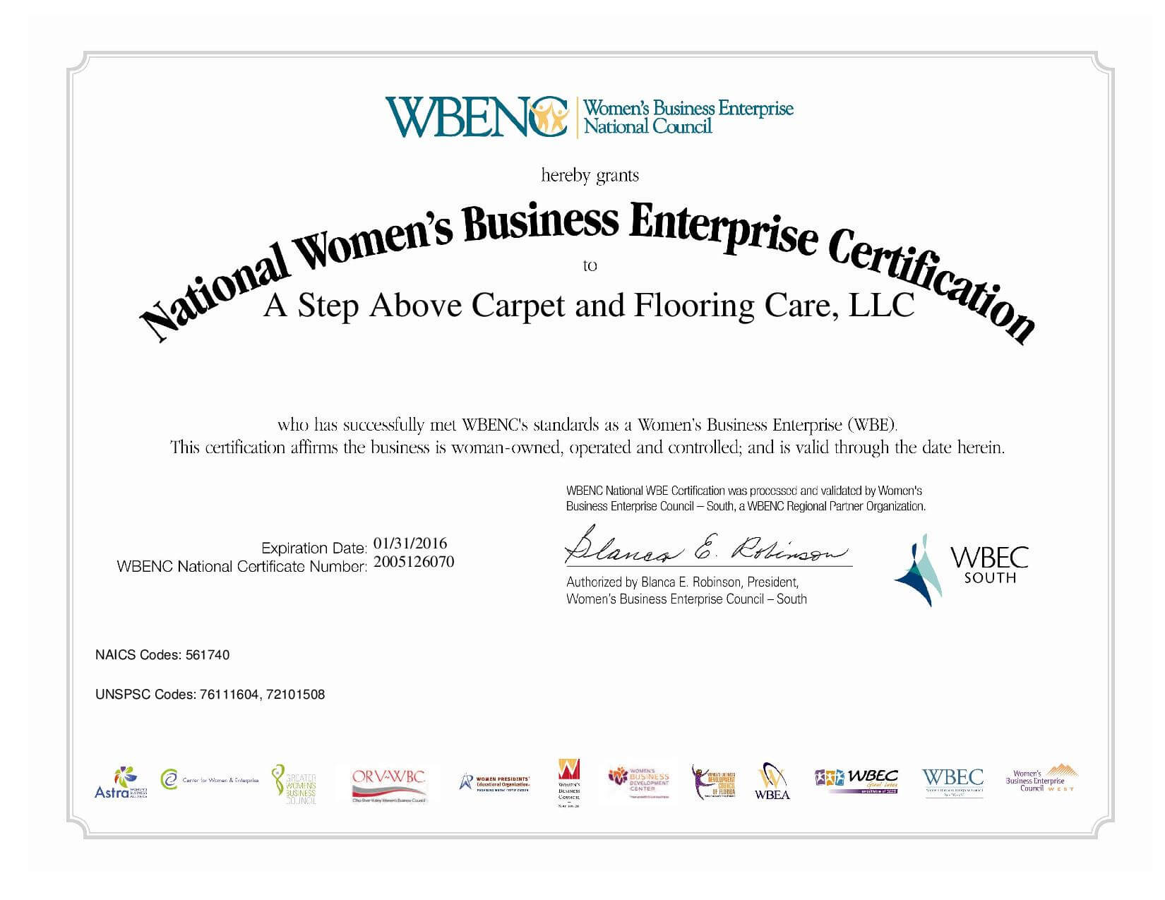 Wbenc Certification A Step Above Carpet And Flooring Care